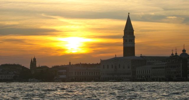 Venice at sunset from the canal