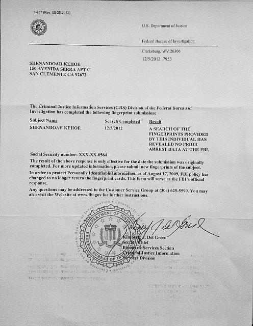 Proof Of Fingerprint Employment Letter