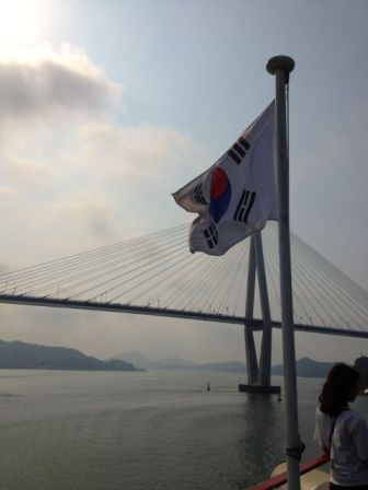 From the back of the ferry as we leave Mokpo