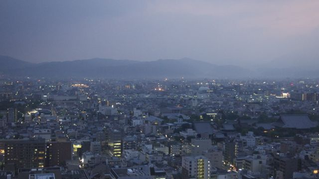 View from Kyoto tower at night.