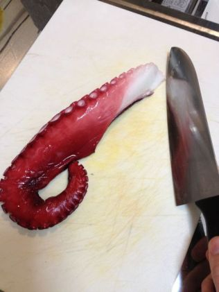 octopus carpaccio prep
