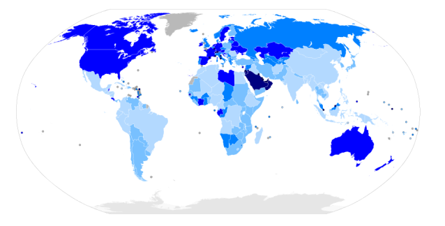 Foreign born residents as a percentage of total population.