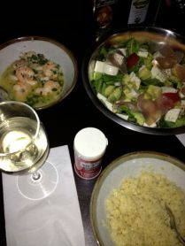 Shrimp scampi, orzo, salad