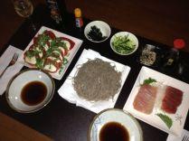 Zaru soba, caprese salad, sashimi