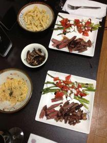 Pasta, beef, aparagus, mushrooms