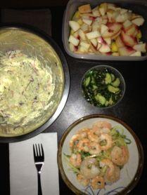 Shirataki shrimp, coleslaw, fruit, tsukemono