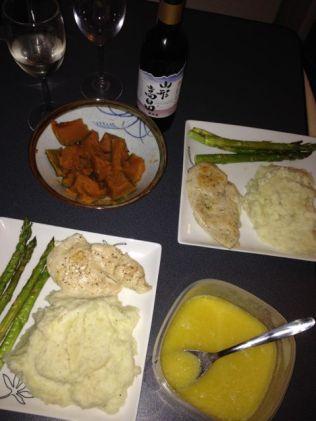 Chicken, mashed potatoes, kabocha, asparagus