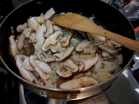 Mushrooms, onions saute